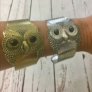 Set of Owl Bracelets Gold and Silver